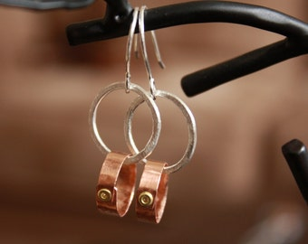 Double Circle with Rivet Earrings