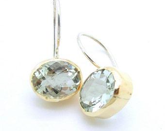 Gold earrings silver Green Amethyst faceted gemstone