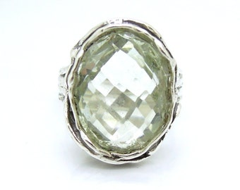 large green amethyst ring set in sterling silver