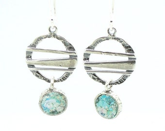 Chandelier silver earrings with roman glass