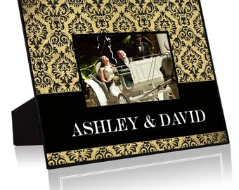 """Personalized  Black & Gold Damask 8""""x10"""" Frame with a 4""""x6"""" Opening"""
