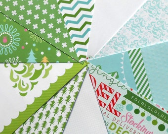 DESTASH - Craft Smith Christmasville: Green - Pack of 10 Different Scrapbook Papers, 6 inch X 6 inch