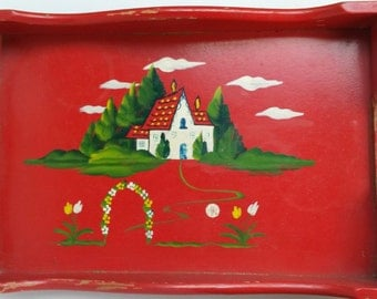 FAIRYTALE STORYBOOK CHILD'S tray, red wood tray, cottage decor, garden, cute, child's toy, vintage 1950s, scroll wood, room decor, woodland