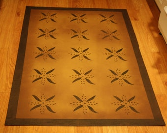 Beautiful primitive floorcloth area rug. Expertly hand-crafted to last. 3'x4.5'.