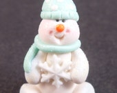 Mint Glittery Miniature Snowman with Snowflake, Whimsical, Winter, Christmas Ornament, Holiday Ornament