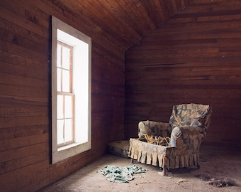 Decay Photography, Window Photograph, Abandoned Farmhouse, Couch and Window, Seat, Moody Photography, Mysterious, Dark, Urbex Art Print
