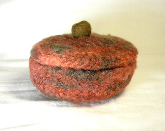 Felted Bowl with Lid Autumn Colors Wet Felt