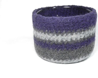 Felted Bowl Planter Purple and Gray with Glass insert
