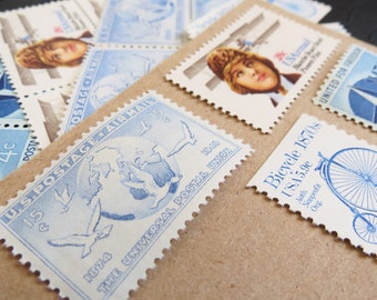 Traveler .. Lady .. UNused Vintage Postage Stamps  .. post 5 letters
