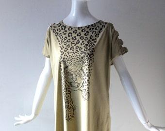 Cabana Kenya Cotton Dress - Sage Green Cotton Print Dress Leopard Print w/ Black Fringe - Size Med 4 6 - Summer Tunic Shift Dress