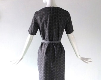 Black Crantex Indonesian Style Print Cotton Dress - 1970s size L 10 12 Sack Style Shift - Cranston Print Works - Metal Zipper
