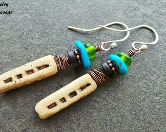 Tribal Ceramic Turquoise Glass Earrings, Copper Wrapped Boho Chic Dangle Earrings, Green Blue Organic Earthy Jewelry