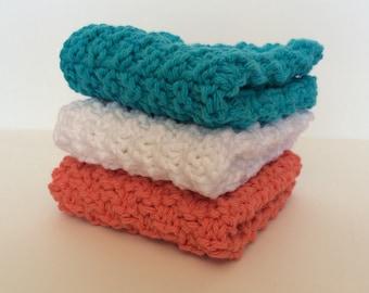 Coral, White, and Aqua Dish Cloths - Set of Three