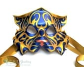 Mardi Gras Themed Tribal Tiger Purple, Gold and Green Leather Mask