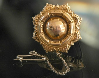 Victorian Mourning Brooch, Memento Jewelry, English 9k Gold, Repousse, Safety Chain, Hallmarked, Excellent Antique Condition