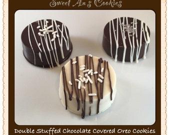 Double stuffed chocolate covered Oreos one dozen