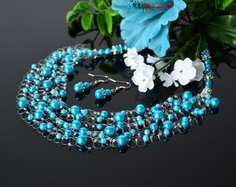 Turquoise blue glass pearl wedding airy crocheted necklace. Wedding. Multistrand Necklace. Beadwork. Beaded Jewelry