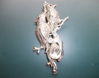 Vintage Rhinestone Perched Love Birds Brooch Pin