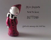 Hand Sculpted Red Mini Poppet is One Inch Tall - By Lisa Snellings