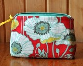 Bright red with poppies makeup/accessories bag.