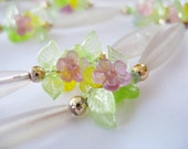 Flower Beaded Tassel Necklace Frosted Lucite Pink Yellow & Green 1960s