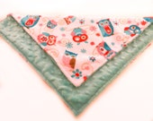 Baby Lovey Blanket Mini - Personalized owl red turquoise coral Minky
