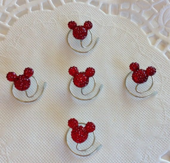 Mouse Ears Hair Swirls for Mouse Themed Wedding in Dazzling Bright Red Acrylic