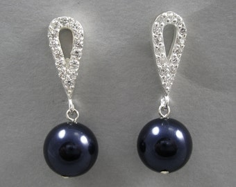Midnight Blue Pearl Dangles on CZ Post