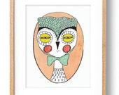 Owl Illustration Portrait Illustration Whimsical Digital Owl Theme Bedroom Decor Wall Art Portrait Children's Owl Wall Decor Art Print