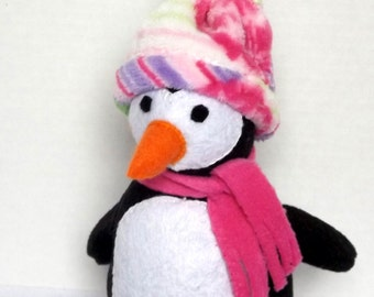 Small Plush Penguin with fleece hat and scarf