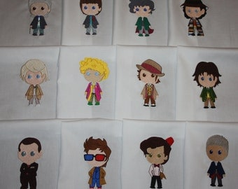 Doctor Who Machine Embroidered Quilt Blocks Set
