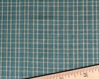 Fabric, Dark Green, Small check, homespun, 1/2 YARD, woven