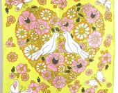 Vintage Towel Love Birds Heart Flowers Butterflies Valentine's Day Gift