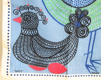 Vintage Kitchen Towel Mid-Century Design Swedish Textile MOD Birds Monica Sampe Designer