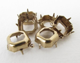 Prong Setting Antiqued Brass Square Octagon Rhinestone Open Back 1 Ring Vintage Style 12mm set0335 (6)