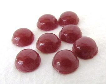 Vintage Glass Cabochon Carnelian Red Brown Round 7mm gcb1047 (8)