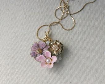 Petite Pink Gold Flower Pearl Enamel Vintage Brooch Collage Necklace