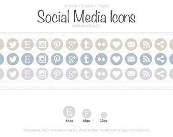 Gloomy Day Series - Pastel Social Media Icons - use for your blog, website, or portfolio. In multiple sizes!