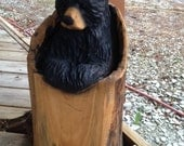 Wood Chainsaw Carved Sculpture of a Stump Bear