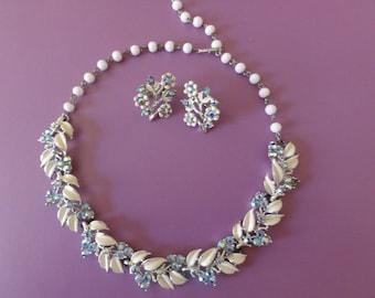 Necklace Choker-Earrings Set-Vintage Signed Coro Ivory Enamel Aurora Borealis-Bridal-Wedding