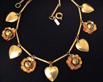 Vintage MONET JEWELERS Hearts and Flowers Modernist Necklace