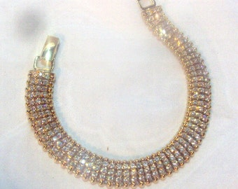 Bridal Bracelet Gold tone 3 Rows Sparkling Rhinestones