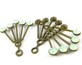 2 - RARE Vintage Art Deco Style Brass Dangle Finding Ear Jackets - Chrysolite Opal - 30x21mm
