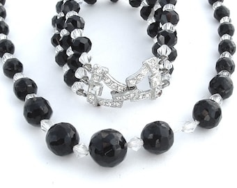 Art Deco Glass Bead Necklace Bracelet, Black Clear Faceted Rhinestone Bracelet Necklace Bridal Party Favorite Daily Jewelry Set