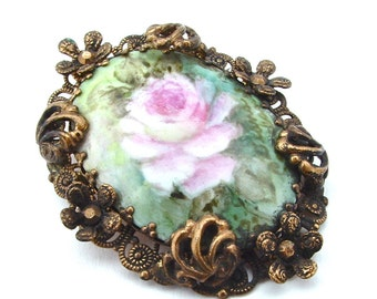 Romantic Antique Jewelry Pink Rose Mint Green Porcelain Stone Floral Ornate Rhinestone High Relief Textured Filigree Frame