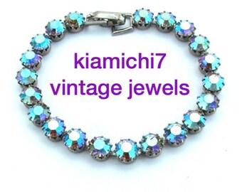 Vintage Rhinestone Bracelet, Tennis Bracelet, Turquoise Aurora Borealis Bling Bracelet Rhinestone Jewelry