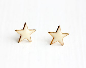 White and Gold Star Studs