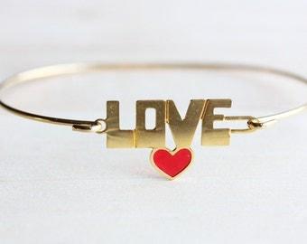 Love Hook Bracelet, Gold Love Bracelet, Love Bracelet, Small Gold Bracelet, Word Bracelet, Gift Bracelet, Gold Cuff, Small Gold Cuff, Love