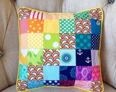 Rainbow Patchwork Pillow Cover