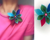 necklace green with fuchsia felt flower woman accessories